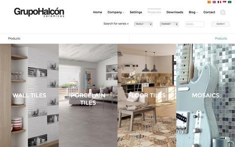 Screenshot of Products Page halconceramicas.com - Products | Grupo Halcon | Cerámicas - captured Nov. 1, 2014