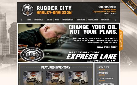 Screenshot of Home Page rubbercityharley.com - Rubber City Harley-Davidson® | Cuyahoga Falls, Ohio | rubbercityharley.com - captured Oct. 6, 2014