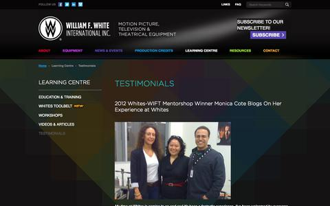 Screenshot of Testimonials Page whites.com - Testimonials ‹ William F. White International Inc. - captured Oct. 7, 2014
