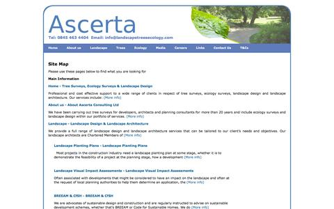Screenshot of Site Map Page landscapetreesecology.com - Site Map - Ascerta - Arboricultural, Ecological & Landscape Planning Consultancy - captured Feb. 6, 2016