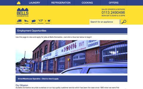 Screenshot of Jobs Page bellsdomestics.co.uk - Bells Domestics - Employment Opportunities - captured Aug. 1, 2018