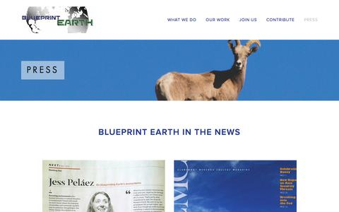 Screenshot of Press Page blueprintearth.org - Press Ń Blueprint Earth - captured Jan. 6, 2016