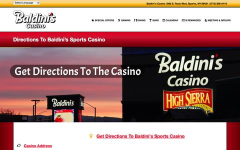 Screenshot of Maps & Directions Page baldinissports.com - Directions To Baldini's Sports Casino - captured Feb. 7, 2016