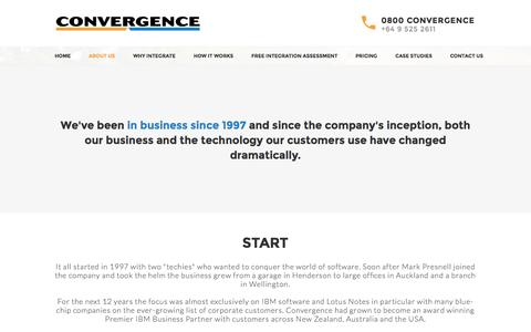 Screenshot of About Page convergence.co.nz - Convergence - Website Integration - captured Oct. 28, 2014