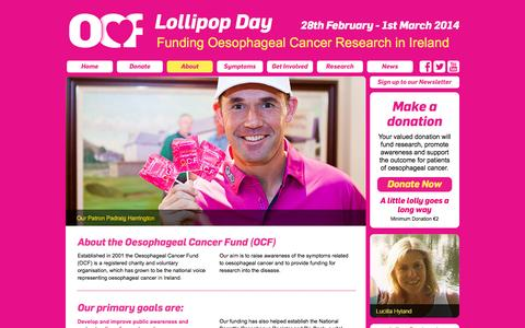 Screenshot of About Page lollipopday.ie - Lollipop Day 2014: 28 February to 1st March 2014 - funding Oesophageal Cancer research Ireland - Oesophageal Cancer Fund - captured Oct. 1, 2014