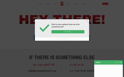 Screenshot of Contact Page complitech.us - Best Mobile & Web App Development Company New York - Complitech - captured July 5, 2018
