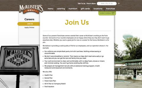 Screenshot of Jobs Page mcalistersdeli.com - Join Us | McAlister's Deli - captured June 10, 2017