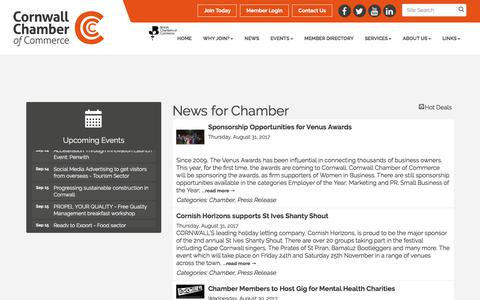 Screenshot of Press Page cornwallchamber.co.uk - News for Chamber - Cornwall Chamber of Commerce - captured Aug. 31, 2017