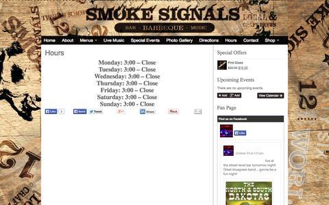 Screenshot of Hours Page smokesignalsq.com - Hours of Operation | Smoke Signals - captured Oct. 26, 2014