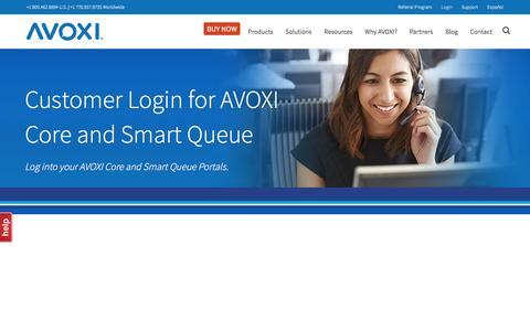Screenshot of Login Page avoxi.com - AVOXI Customer Login | AVOXI Core | AVOXI Smart Queue - captured May 29, 2017