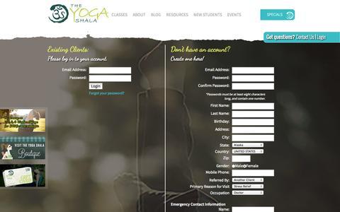 Screenshot of Login Page theyogashala.org captured Sept. 30, 2014