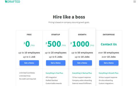 Screenshot of Pricing Page drafted.us - Pricing — Drafted - captured April 16, 2018