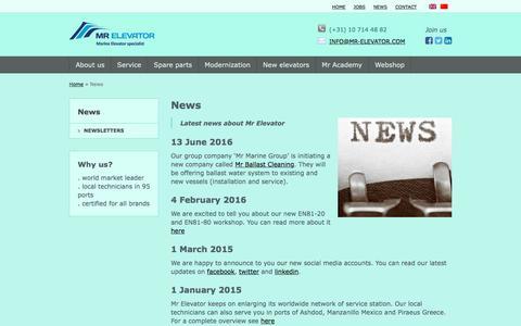 Screenshot of Press Page mr-elevator.com - Marine elevator service headlines - captured Dec. 6, 2016