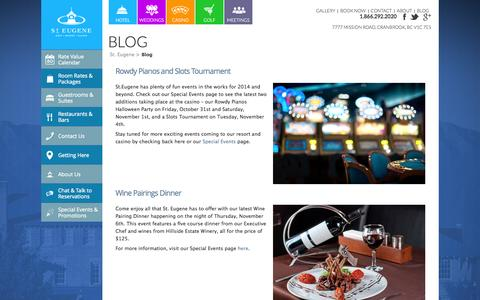 Screenshot of Blog steugene.ca - Blog   St. Eugene Golf Resort & Casino   St. Eugene - captured Nov. 4, 2014