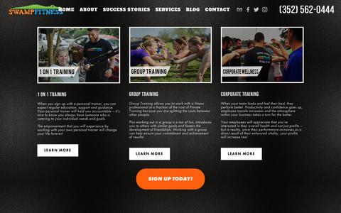 Screenshot of Services Page swampfitness.com - Swamp Fitness - Personal Trainer Gainesville, FL | Services — Swamp Fitness | In-Home Personal Training | Gainesville Personal Trainers | Personal Trainer Gainesville, FL - captured Oct. 20, 2018