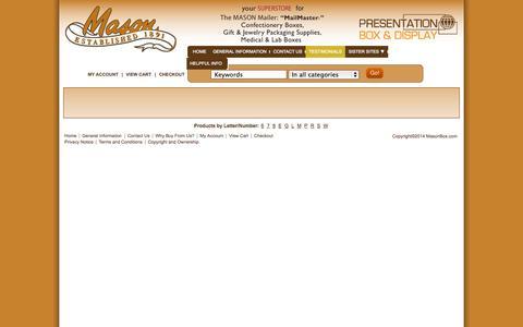Screenshot of Testimonials Page masonbox.com - Testimonials – Satisfied Mason Box Customers - captured Oct. 27, 2014