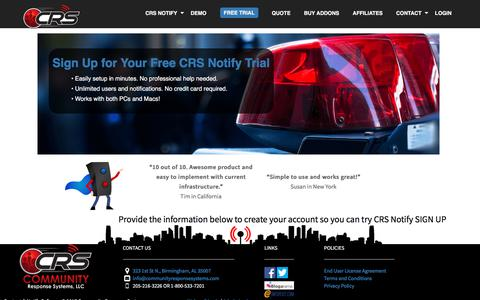 Screenshot of Signup Page Trial Page communityresponsesystems.com - Sign Up! - captured July 20, 2018