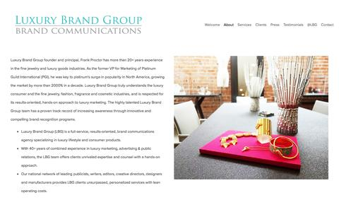 Screenshot of About Page luxurybrandgroup.com - About Us — Luxury Brand Group - captured July 24, 2018