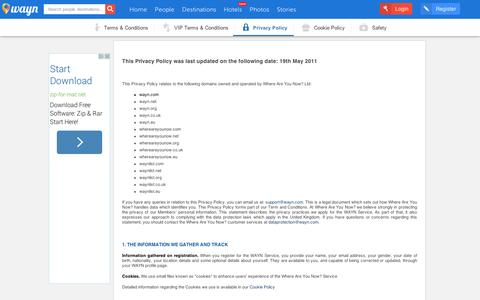 Screenshot of Privacy Page wayn.com - Privacy Policy - WAYN.COM - captured Sept. 10, 2014