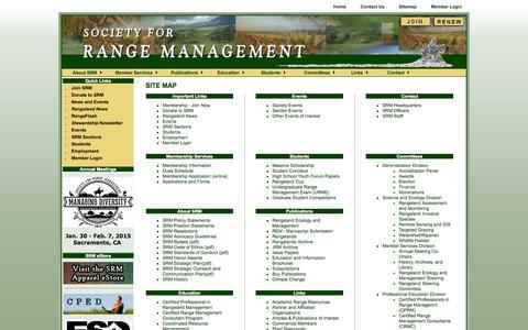 Screenshot of Site Map Page rangelands.org - Site Map - captured Oct. 7, 2014