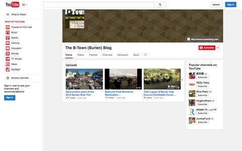 Screenshot of YouTube Page youtube.com - The B-Town (Burien) Blog  - YouTube - captured Oct. 22, 2014