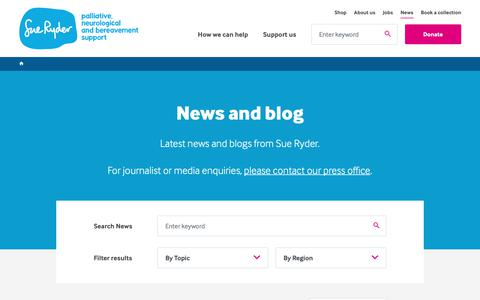 Screenshot of Press Page sueryder.org - News and blog | Sue Ryder - captured Oct. 9, 2018