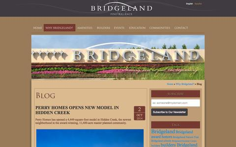 Screenshot of Blog bridgeland.com - Bridgeland News & Blog - captured Oct. 5, 2014