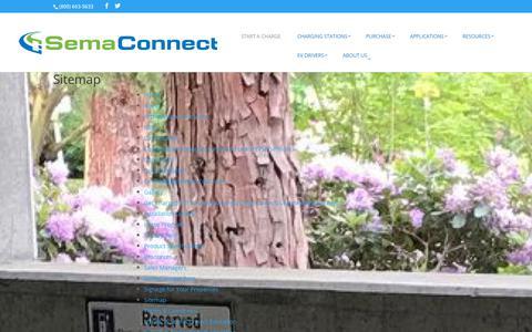 Screenshot of Site Map Page semaconnect.com - Sitemap - Smart Electric Vehicle (EV) Charging Stations - captured Sept. 29, 2019