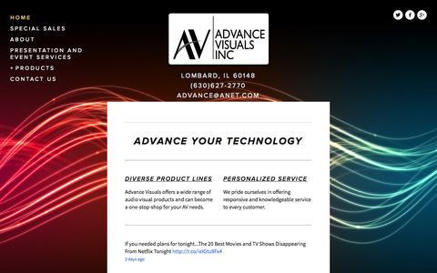 Screenshot of Home Page advance-visuals.com - Advance Visuals Inc - captured Oct. 4, 2014