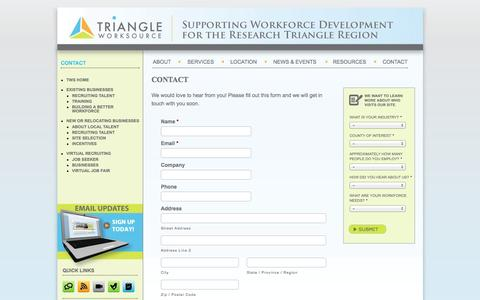 Screenshot of Contact Page triangleworksource.com - Contact |  Triangle Work Source - captured Oct. 7, 2014