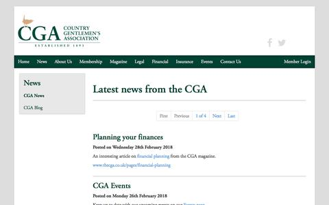 Screenshot of Press Page thecga.co.uk - The Country Gentlemen's Association | CGA News - captured Sept. 25, 2018