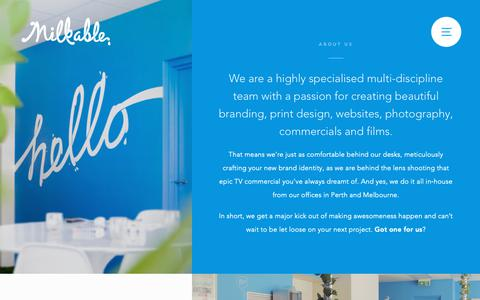 Screenshot of About Page milkable.me - About Milkable Creative Agency - captured Dec. 11, 2018