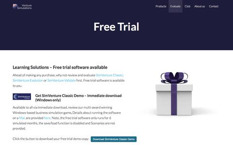 Screenshot of Trial Page simventure.com - SimVenture Free Trial Software available | SimVenture - captured July 5, 2018