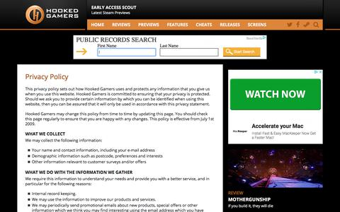 Screenshot of Privacy Page hookedgamers.com - Privacy | Hooked Gamers - captured July 22, 2018