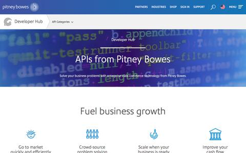 Screenshot of Developers Page pitneybowes.com - Developer Hub | Pitney Bowes - captured Sept. 25, 2017