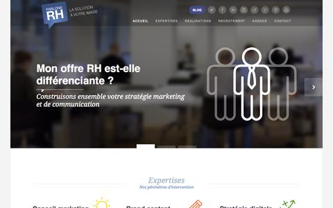 Screenshot of Home Page parlonsrh.com - Parlons RH : agence de marketing digital et éditorial - captured Sept. 19, 2014