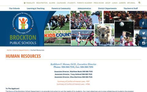 Screenshot of Jobs Page brocktonpublicschools.com - Human Resources - Brockton Public Schools - captured June 10, 2018