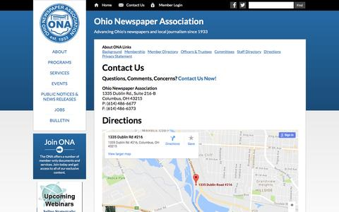 Screenshot of Contact Page Maps & Directions Page ohionews.org - ONA   Contact Us - captured Dec. 6, 2016