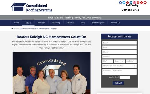Screenshot of About Page crstoroof.com - Roofers Raleigh Can Count On | Consolidated Roofing Systems - captured Aug. 18, 2017