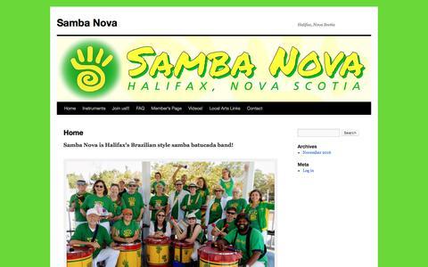 Screenshot of Home Page sambanova.org - Samba Nova | Halifax, Nova Scotia - captured Oct. 5, 2017