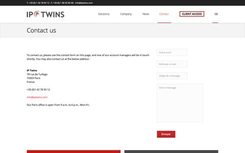 Screenshot of Contact Page iptwins.com - Contact us | IP Twins – Domain names and Online brand protection - captured Nov. 5, 2018
