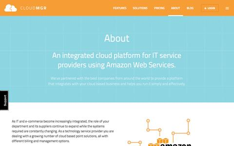 Screenshot of About Page cloudmgr.com - About CloudMGR - captured Sept. 23, 2014