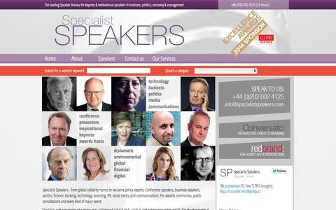 Screenshot of Home Page specialistspeakers.com - Specialist Speakers Speaker Bureau - captured Sept. 19, 2014