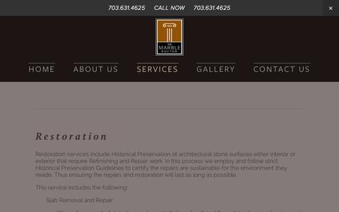 Screenshot of Services Page marbledoctorva.com - Services — Marble Restoration, Refinishing, and Repair Contractor - captured Oct. 27, 2014
