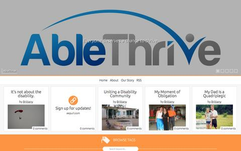 Screenshot of Home Page ablethrive.com captured Sept. 30, 2014