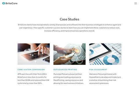 Screenshot of Case Studies Page britecore.com - Case Studies — BriteCore - captured Jan. 14, 2018