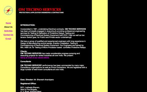 Screenshot of About Page omtechno.com - About Us - OM TECHNO SERVICES   Testing, Commissioning, om, techno, Electricals, Contractor, Projects, Services, Engineering, Consultants, Lighting, Transformers, Turnkey, Transmission, Power, Electricity, Sub-station, Cable, Panels, Switchyard, Elec - captured Oct. 7, 2014