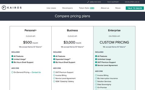 Screenshot of Pricing Page imrsv.com - Kairos Face Recognition Pricing - captured July 13, 2018