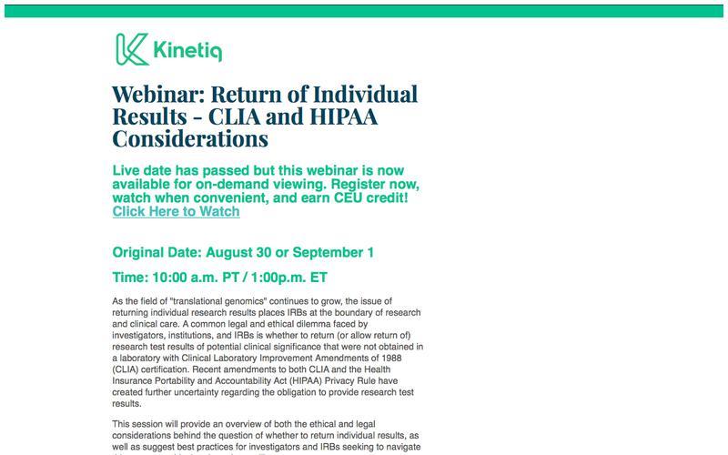 Webinar: Return of Individual Results - CLIA and HIPAA Considerations