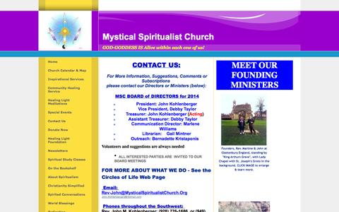 Screenshot of Contact Page mysticalspiritualistchurch.org - Send us Your US Mail or email - captured Oct. 9, 2014